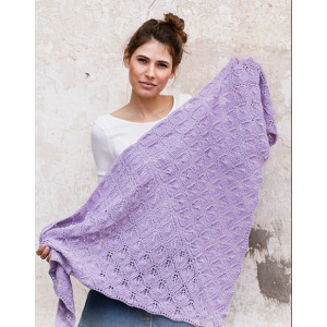 Lilac Bouquet by DROPS Design - Knitted Shawl Pattern 144x72 cm