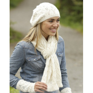 Snow Angel by DROPS Design - Knitted Hat, Scarf and Wrist warmers Pattern size S - L