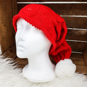 Knitted Christmas Hat by Rito Krea - Christmas Hat Knitting Pattern size S-L