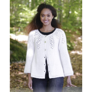 Nineveh by DROPS Design - Knitted Jacket with Lace Pattern size S - XXXL