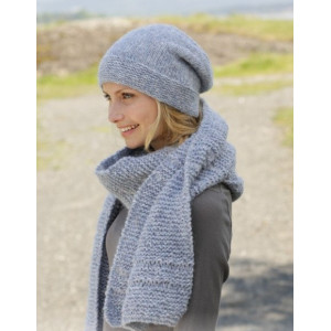 Serene Skies by DROPS Design - Knitted Hat and scarf in Garter Stitches pattern size S - XL