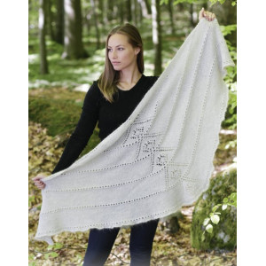 Viking Spirit by DROPS Design - Knitted Shawl with Lace Pattern 180x70 cm