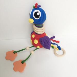 Activity Toy Ostrich by Rito Krea – Soft Toy Crochet Pattern 22cm
