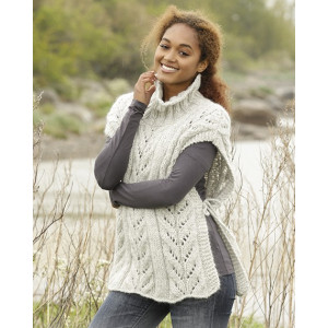 Come Winter by DROPS Design - Knitted Poncho with high Collar Pattern size S - XXXL