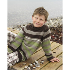 Sticks and Stones by DROPS Design - Knitted Jumper with Stripes and Raglan Pattern size 3 - 14 years