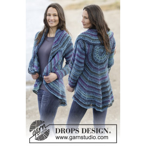 Gypsy Blue by DROPS Design - Crochet Jacket Pattern Size S - XXXL