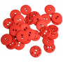 Buttons Plastic Red 15mm - 30 pcs