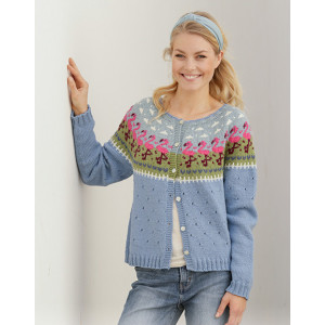Flamingo Parade Jacket by DROPS Design - Knitted Jacket Pattern Sizes S - XXXL