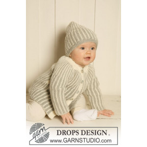 Magnus Set by DROPS Design - Knitted Jacket and Hat Pattern Size 1/3 months - 3/4 years