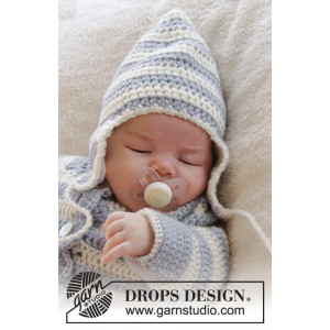 Baby Blues Hat by DROPS Design - Crochet Baby Blues Hat Pattern Size 0/3 months - 2/4 years
