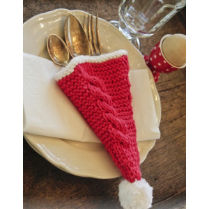 Dinner At The Kringles by DROPS Design - Knitted Cutlery Holder with Cables Pattern 16x22 cm - 2 pcs