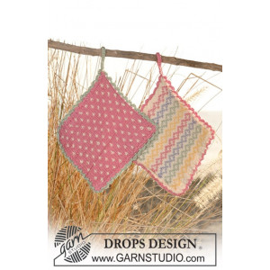 Kitchen Memories by DROPS Design - Knitted Pot Holders Pattern 16x16 cm or 24x24 cm