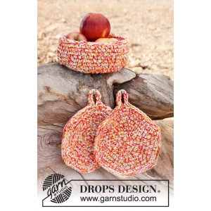 Bright Summer by DROPS Design - Crochet Basket and Pot Holder Pattern