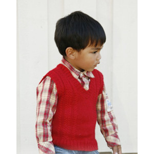 Justus by DROPS Design - Knitted Vest with V-neck and cables Pattern size 3 - 12 years