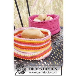 Al Fresco by DROPS Design - Crochet Bread Basket Pattern 20x26 cm