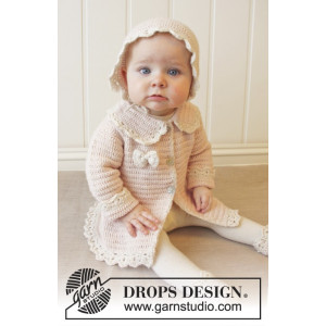 Little Lady Rose by DROPS Design - Crochet Baby Jacket Pattern Size 0/1 months - 3/4 years
