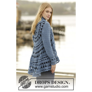 Sea Glass by DROPS Design - Crochet Circle Jacket Pattern size S - XXXL