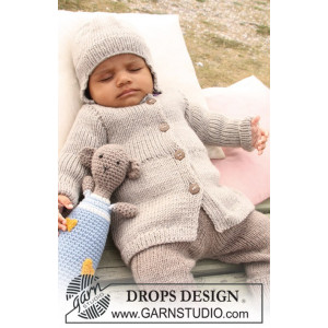 Samuel Jacket by DROPS Design - Knitted Baby Jacket size 1/3 months - 3/4 years