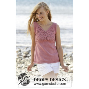 Butterfly Heart Top by DROPS Design - Knitted Top Pattern size S - XXXL