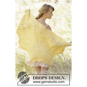 Spring Splendor by DROPS Design - Knitted Shawl Pattern 70x140