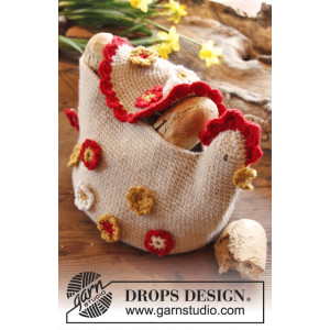 Henny Penny by DROPS Design - Crocheted Chicken Basket Pattern 22 cm