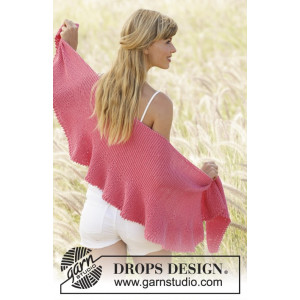 Pink Sorbet by DROPS Design - Knitted Shawl Pattern 33x140