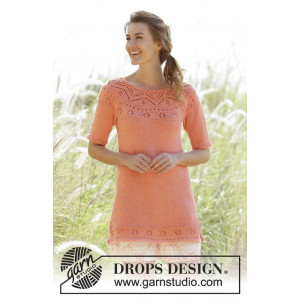 Sunrise Glow by DROPS Design - Knitted Tunic Pattern size S - XXXL