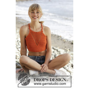 Mandarina by DROPS Design - Crochet Top Pattern size S - XXXL