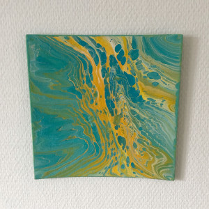 Acrylic Pouring by Rito Krea - Pouring Painting 20x20cm