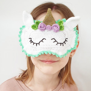 Unicorn Sleeping Mask by Rito Krea - Sleeping Mask Crochet Pattern 16x11cm