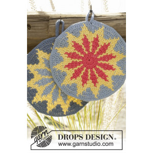 Burning Sun by DROPS Design - Crochet Pot Holders Pattern