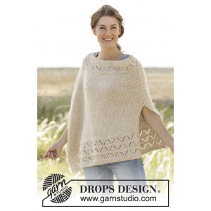 So Classy! by DROPS Design - Knitted Poncho Pattern size S/M - XXXL