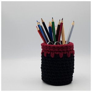 Double Crochet Stitch Pencil Holder by Rito Krea - Pencil Holder Crochet Pattern