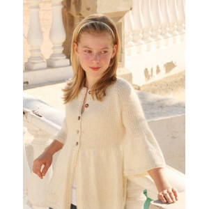 Abril by DROPS Design - Knitted Jacket with rib and Raglan Pattern size 7 - 14 years