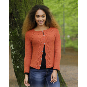 Autumn Vines Cardigan by DROPS Design - Knitted Jacket with Leaf Pattern size S - XXXL