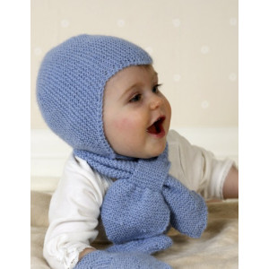 Baby Aviator Hat by DROPS Design - Knitted Baby Hat, Scarf and Mittens Pattern Size 1 months - 4 years