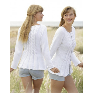 Romantic Twist by DROPS Design - Fitted Jacket with Cables Pattern Size S - XXXL