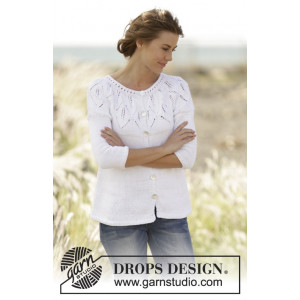 Summer Leaves Cardigan by DROPS Design - Knitted Jacket Pattern size S - XXXL