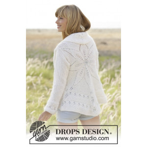 White Flower by DROPS Design - Knitted Circle Jacket Pattern size S/M - XXL/XXXL