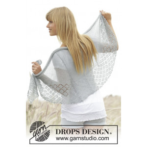 Falling in Lace by DROPS Design - Knitted Shawl Pattern 154x50 cm
