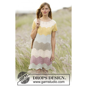 Making Waves by DROPS Design - Knitted Dress Pattern size S - XXXL
