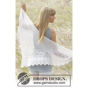 Tender Kiss by DROPS Design - Knitted Shawl Pattern 200x60 cm