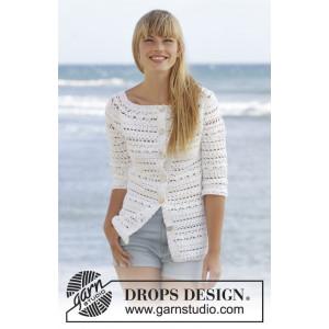 Seashore Bliss Cardigan by DROPS Design - Crochet Jacket Pattern size S - XXXL