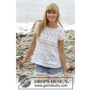 Erica Top by DROPS Design - Knitted Top with Lace Pattern size S - XXXL