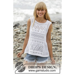 Erica Singlet by DROPS Design - Knitted T-shirt with Lace Pattern size S - XXXL