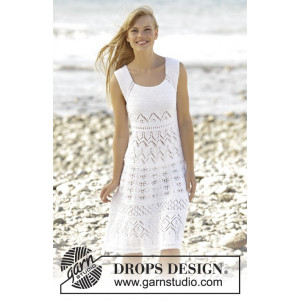 Mallorca by DROPS Design - Knitted Dress with Lace Pattern size S - XXXL