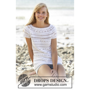 Seashore Bliss Top by DROPS Design - Crochet Top with Lace Pattern size S - XXXL