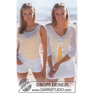 Summer Breeze Set by DROPS Design - Crocheted Top and Cardigan Pattern size S - XXL