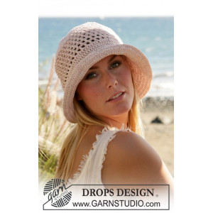 Seaside by DROPS Design - Crochet Hat Pattern size S - L