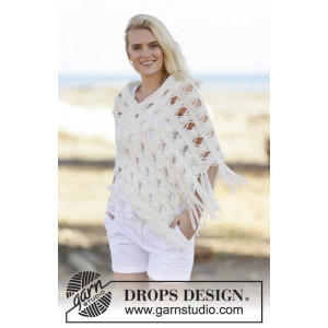 Late in August by DROPS Design - Knitted Poncho Pattern size S/M - XXL/XXXL